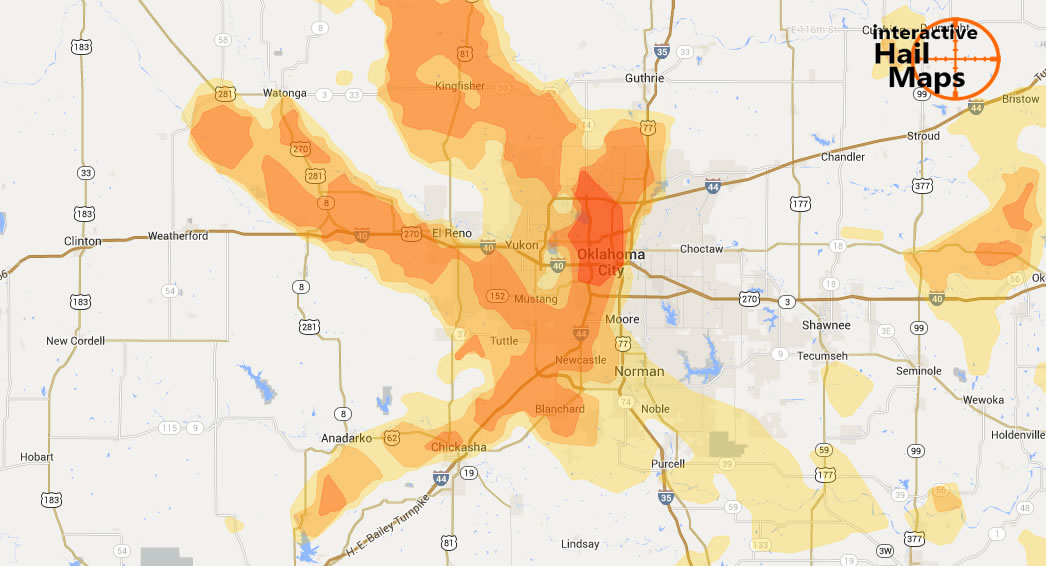 Hail Map Oklahoma City Oklahoma