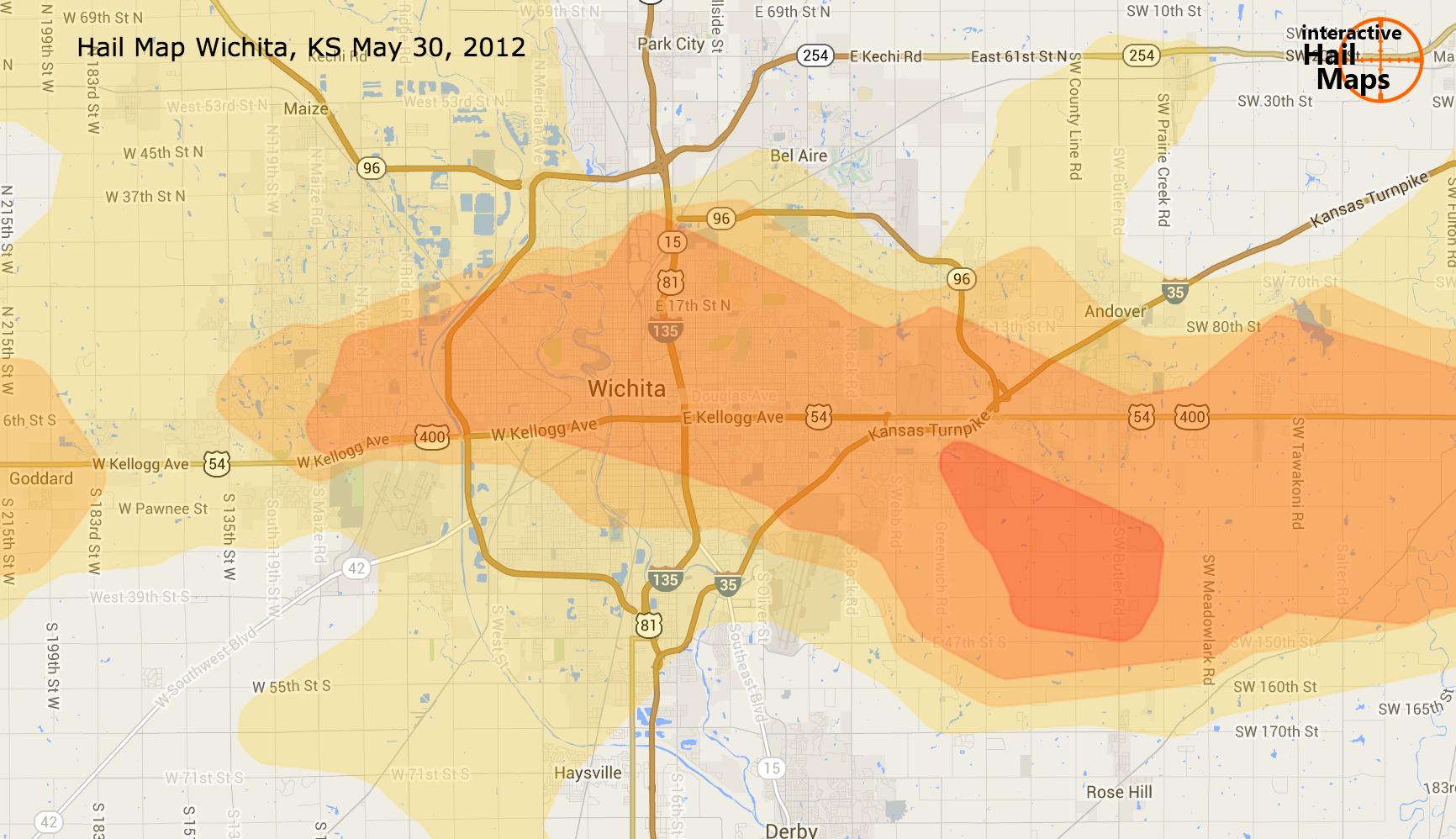 Hail Map Wichita KS May 30 2012