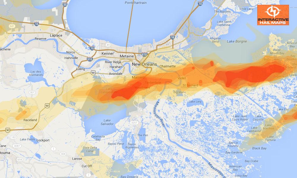 Hail Map New Orleans Louisiana February 24 2013