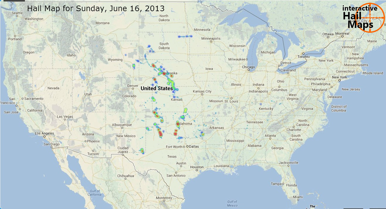 Hail Map for Sunday June 16 2013